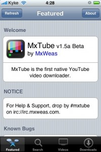 MXtube - bajar videos de YouTube desde ipod/iphone