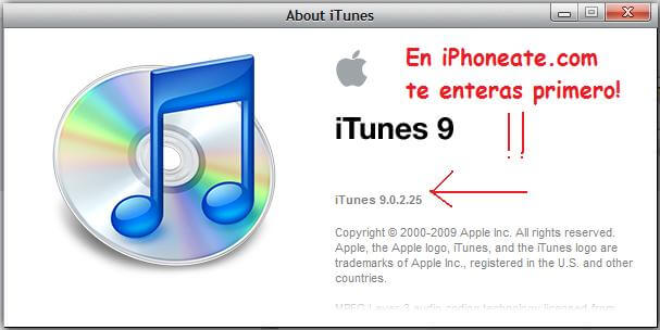 iTunes 9.0.2.25 sin problemas