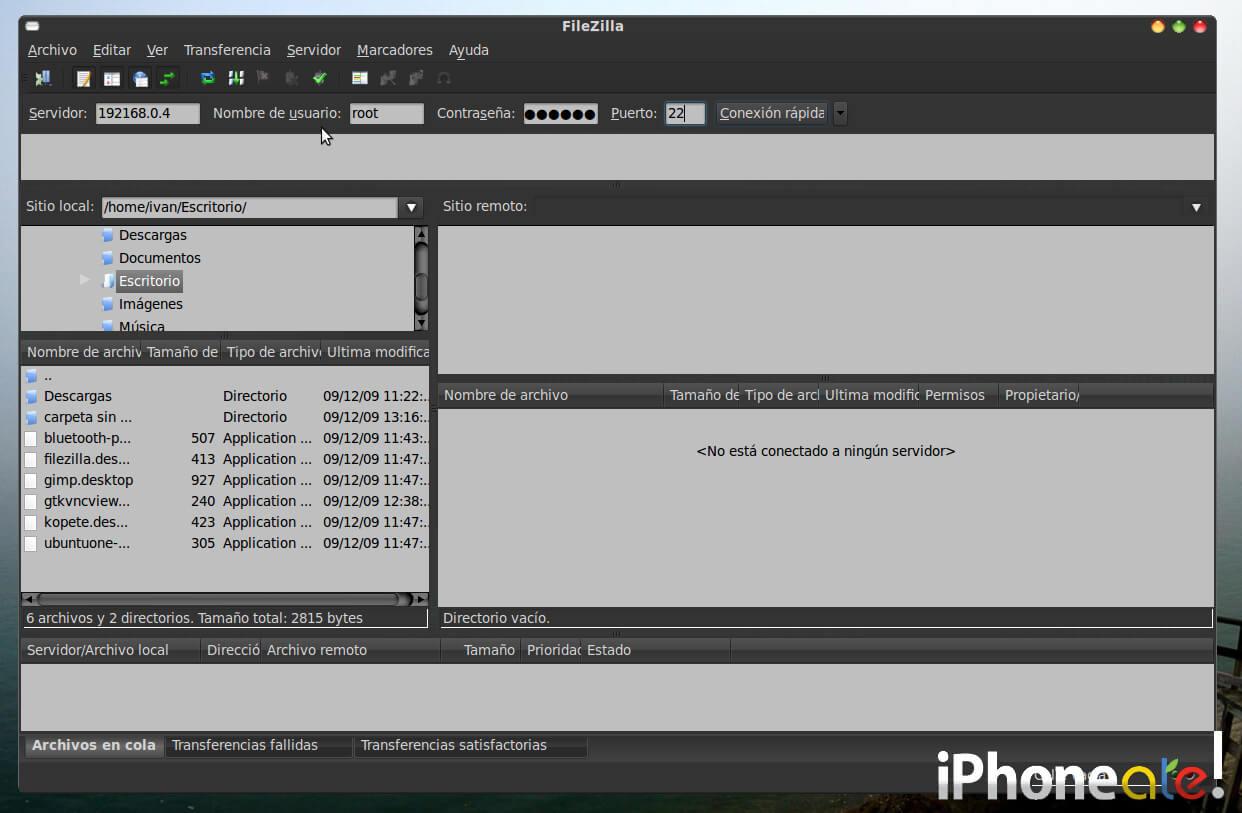 Accede via SSH y visualiza el iPhonei-Pod con VNC en Linux- 04