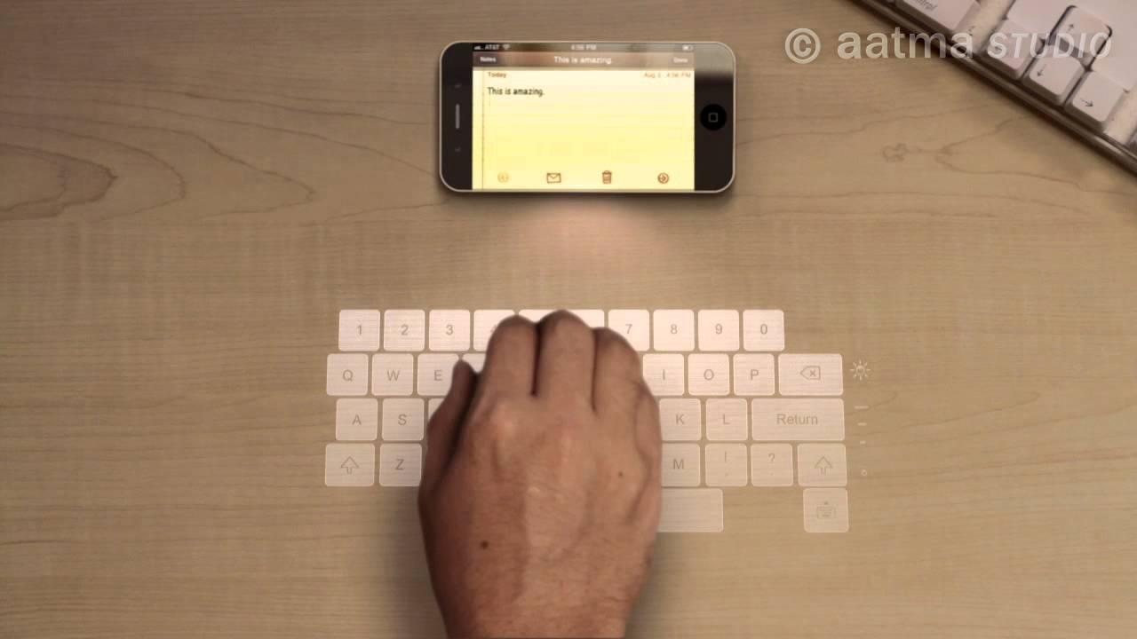 iPhone 5 con teclado láser e imágenes holográficas