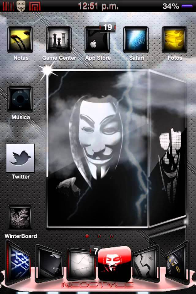 Tema Completo Anonymous para el iPhone & iPod Touch en iOS 5.0 a 6.2.1