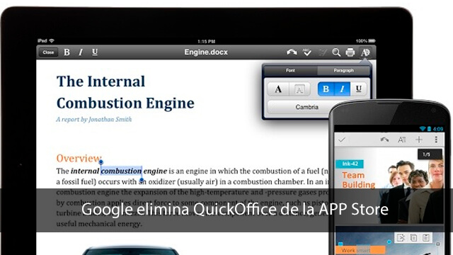 Google elimina QuickOffice