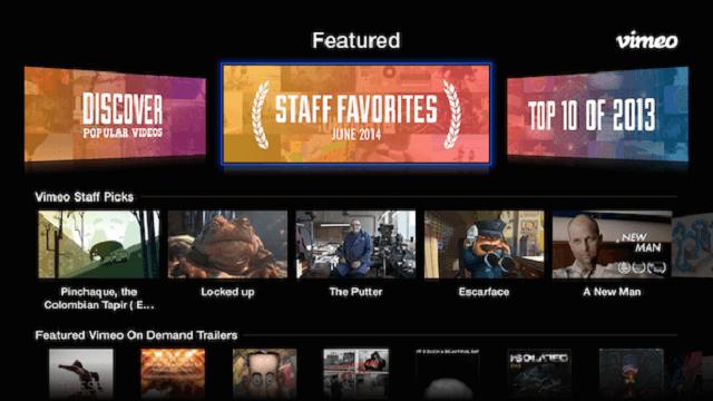 Vimeo, nuevo menú
