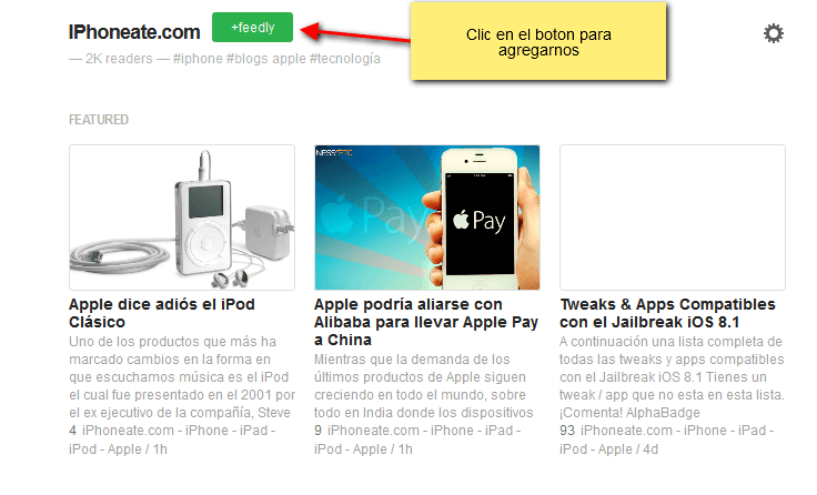 iphoneate en feedly