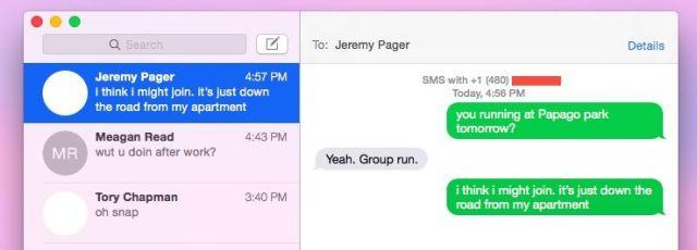 mensajes textos iOS Yosemite