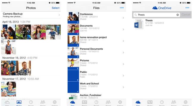 OneDrive app iOS