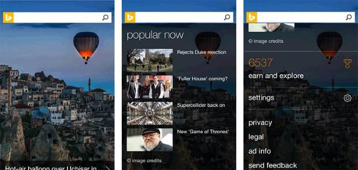 BingMobileHomePage-3Panel