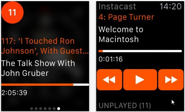 Instacast para apple watch