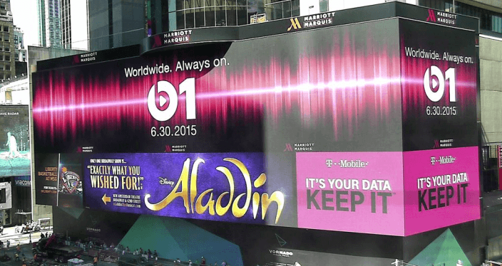 Beats 1 Apple hace gran debut con un aviso en Times Square