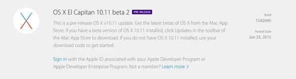 OS X El Capitán 10.11 Beta 2