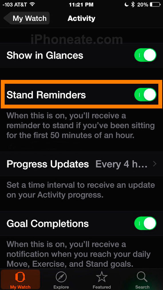 Apple Watch- Stand Up Reminder