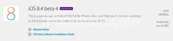 iOS 8.4 Beta 4 for Developers