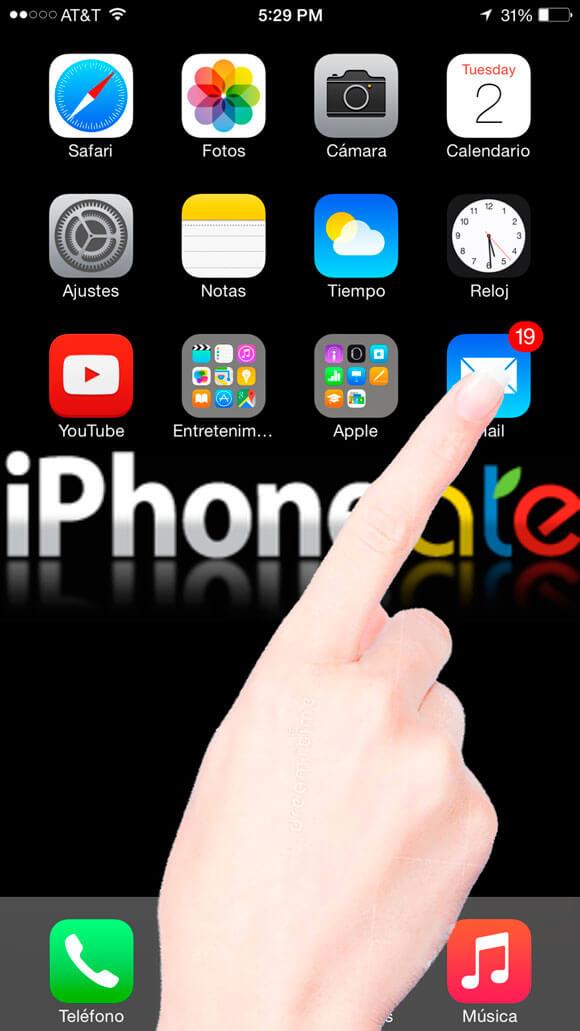 Abrir App Mail en el iPhone