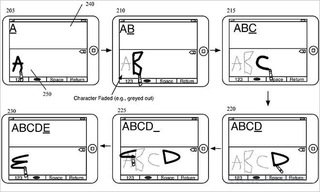 Apple desarrolla un método de entrada para la escritura continua