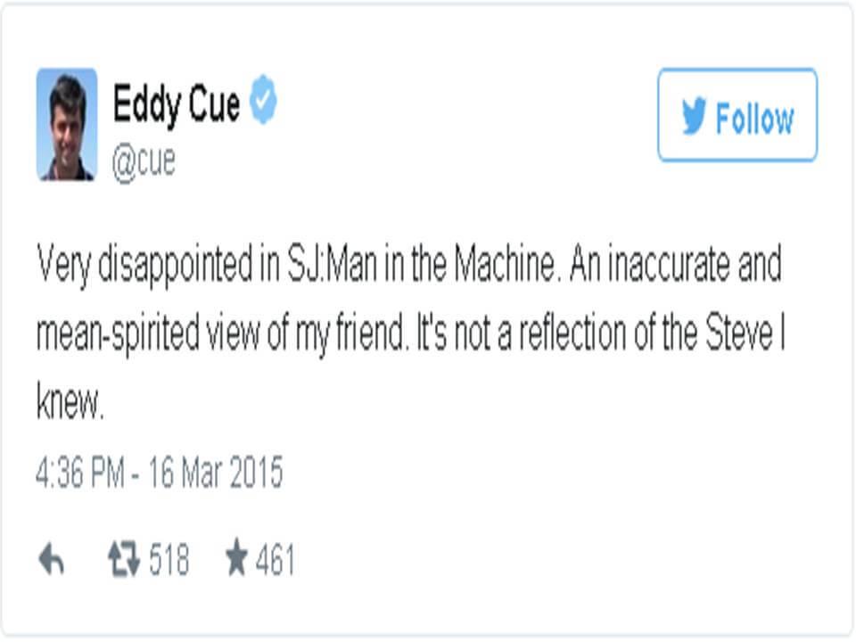 Eddy Cue ofendido por el trailer de SJ