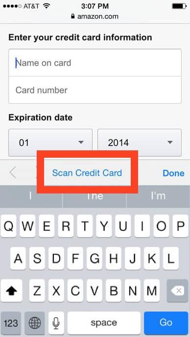 Función de escaneo de tarjeta de crédito en el teclado de iPhone y iPad