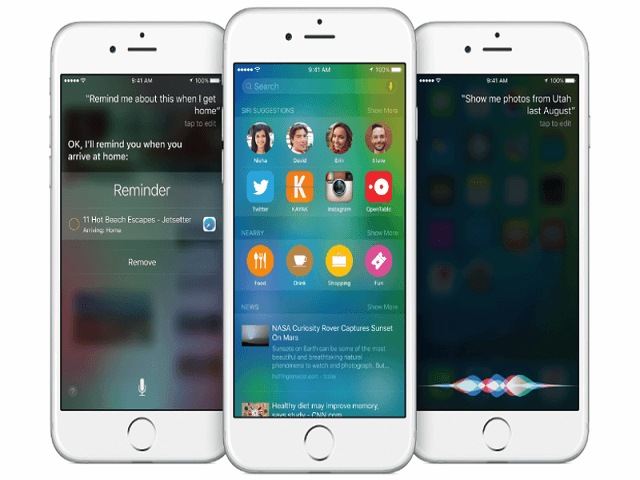 Preview de un iPhone con iOS 9 beta