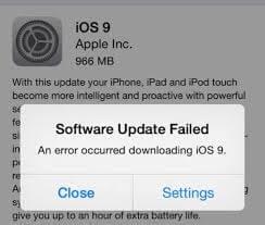 Error de descarga de iOS 9