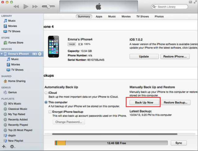 Hacer una copia de seguridad en iTunes antes