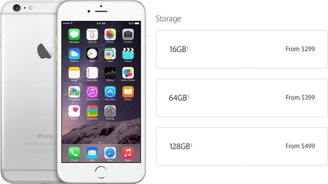 iPhone 6 Almacenamiento