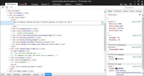 Acceso a Internet Explorer Developer Tools desde tu Mac