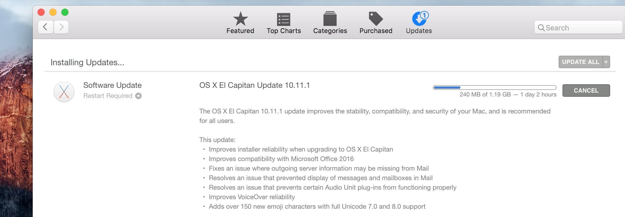 Actualización de OS X El Capitan