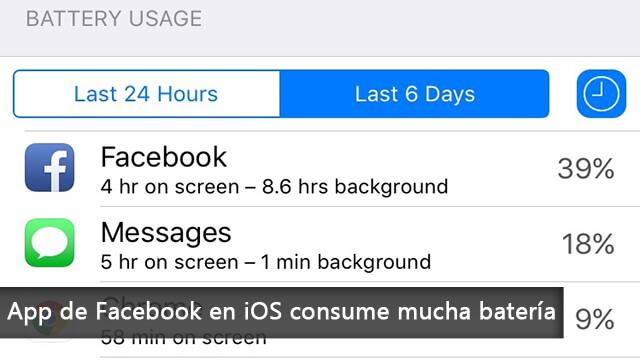 App de Facebook en iOS consume mucha batería