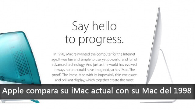 Apple compara su iMac actual con su Mac del 1998