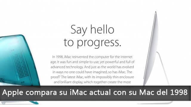 Apple compara su iMac actual con su Mac del 1998
