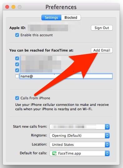2. Cómo agregar una dirección de correo adicional a FaceTime desde la Mac OS X