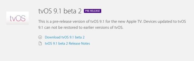 Detalles del tvOS 9.1 Beta 2
