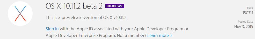 OS X 10.11.2 ya disponible