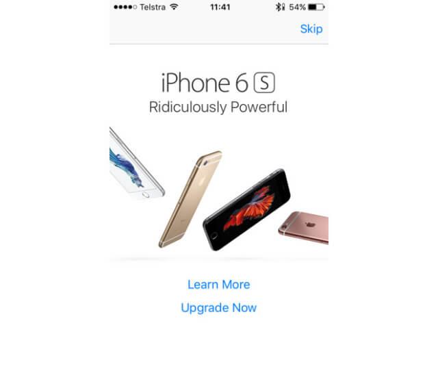 Apple incluye anuncios Pop-up en la App Store para promocionar el iPhone 6S