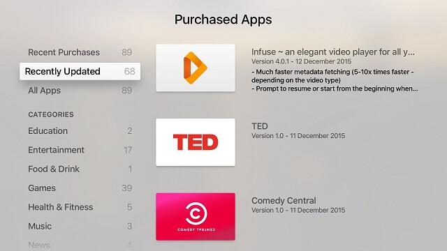 Cómo tener acceso a los cambios de actualización de apps para el Apple TV desta