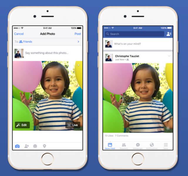 Facebook empieza a incorporar el soporte para Live Photos