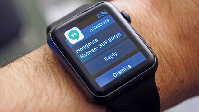 Hangouts para iOS ahora es compatible con Apple Watch