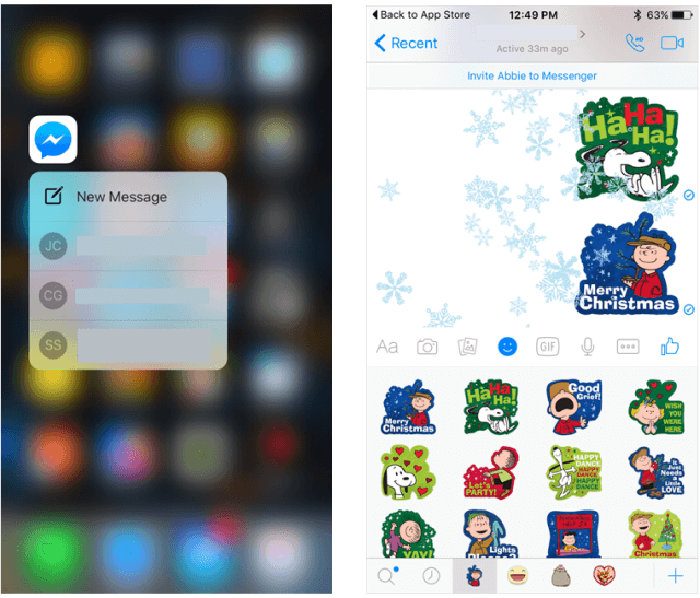 Mira caer copos de nieve al recibir o enviar emojis y stickers