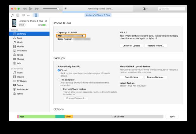 2. Localizar el IMEI utilizando iTunes