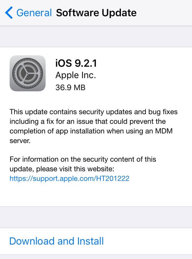 Apple lanza iOS 9.2.1 para iPhone, iPad y iPod Touch