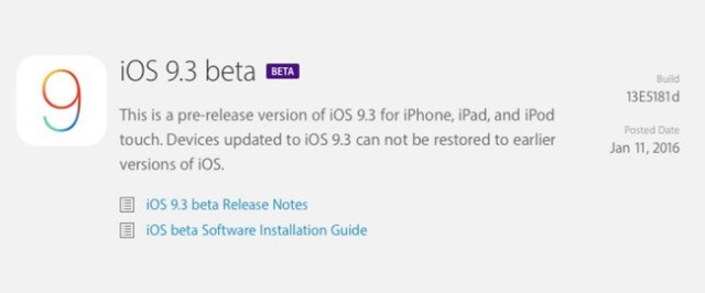 Apple lanza la primera beta de iOS 9.3 para desarrolladores - copia
