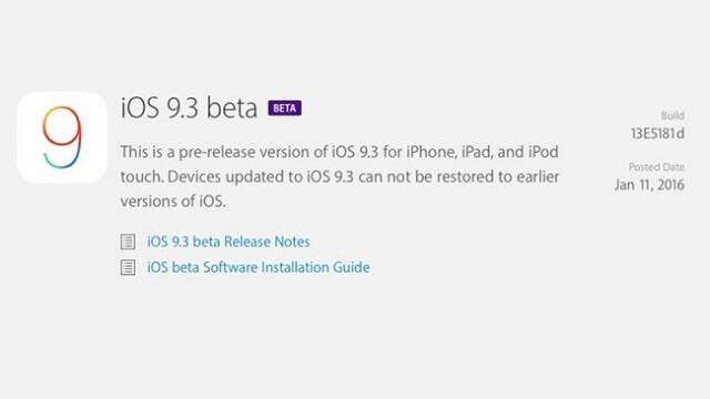Apple lanza la primera beta de iOS 9.3 para desarrolladores