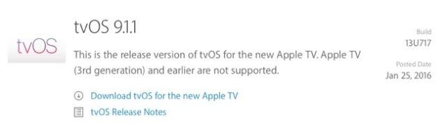 Apple lanza una actualización para tvOS 9.1.1