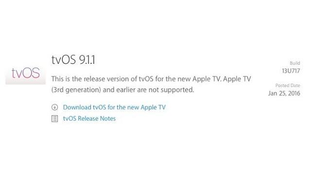 Apple lanza una actualización para tvOS 9.1.1 - copia