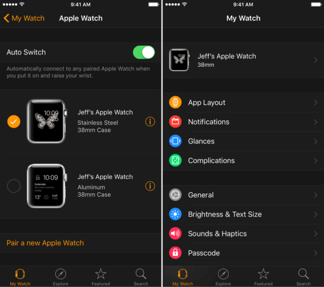 - Esfera del reloj actual en el Apple Watch