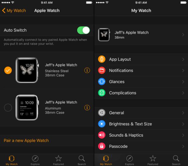 - Esfera del reloj actual en el Apple Watch