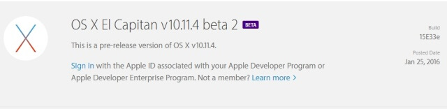 OS X 10.11.4 - Beta 2 ya disponible para desarrolladores