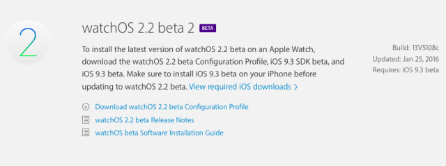 watchOS 2.2 - Ya disponible beta 2 para desarrolladores
