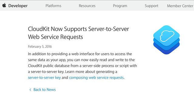 Apple añade un servidor API en CloudKit para brindar una mejor experiencia con el servicio de iCloud
