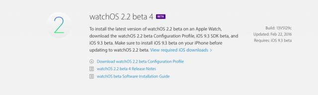 Apple libera su cuarta beta de watchOS 2.2 para desarrolladores