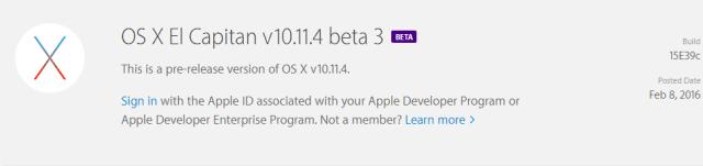 Beta 3 OS X 10.11.4